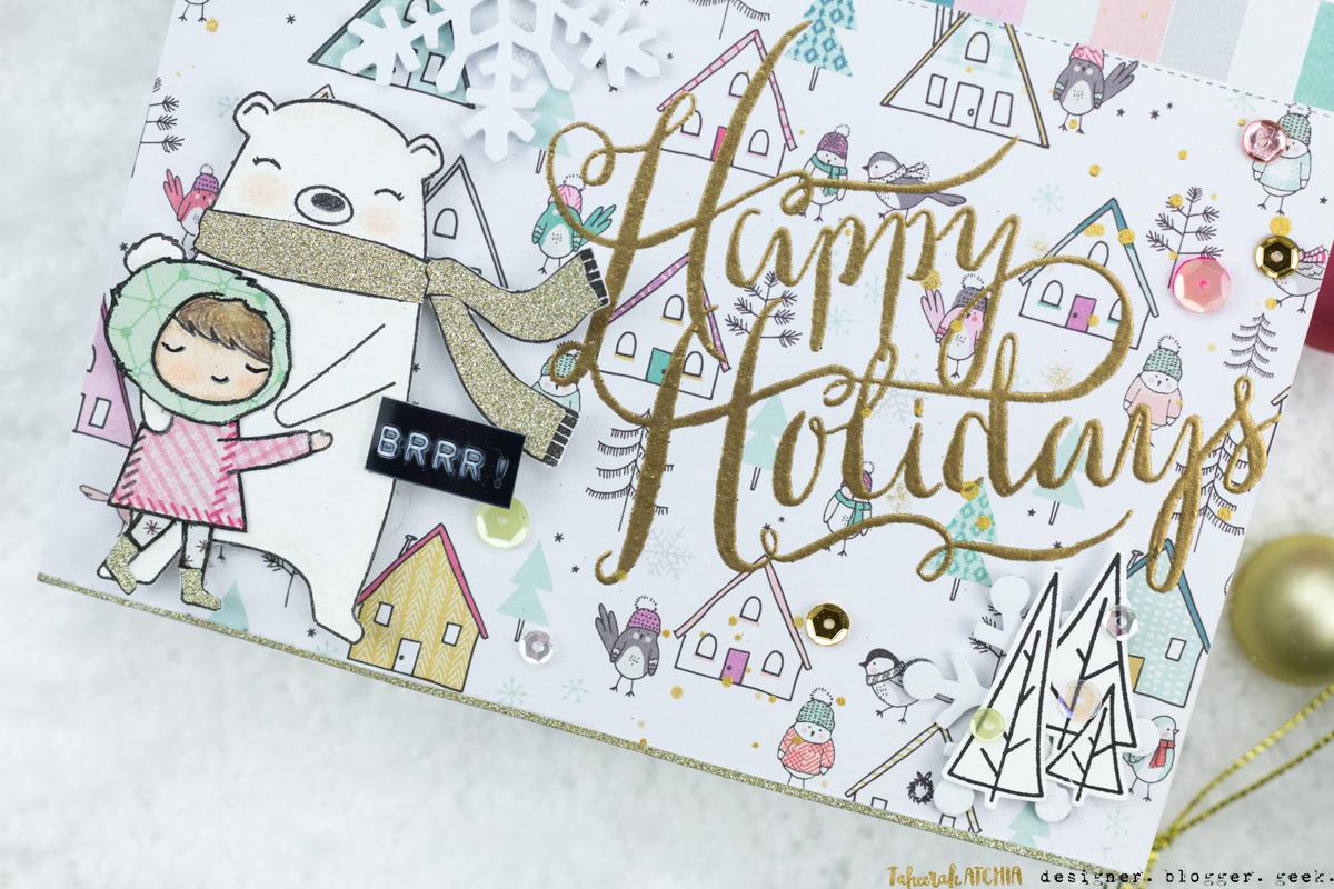 Happy Holidays Retro Glam Christmas Card by Taheerah Atchia