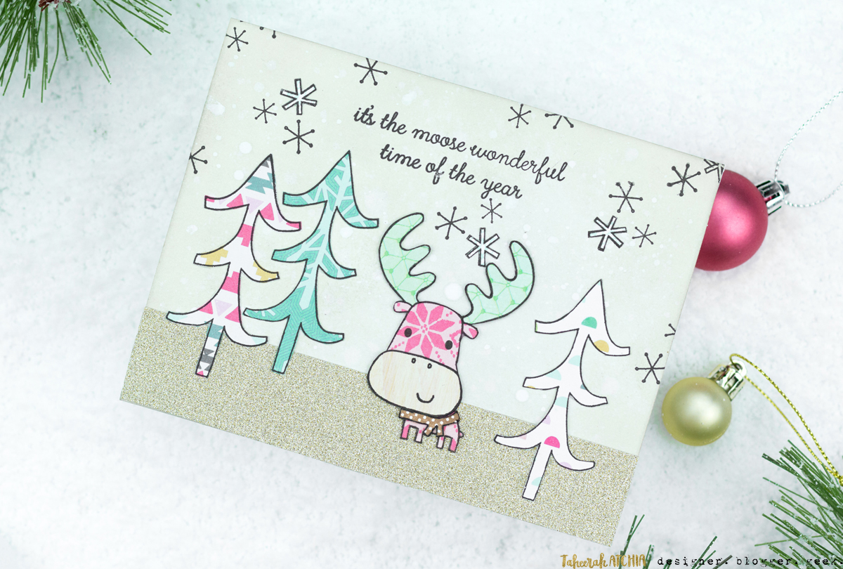 It's The Moose Wonderful Time Of The Year Christmas Card by Taheerah Atchia