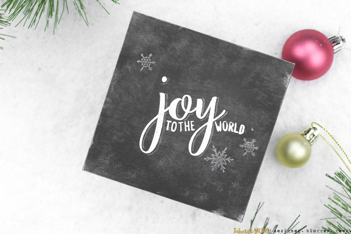 Joy To The World Chalkboard Christmas Card by Taheerah Atchia