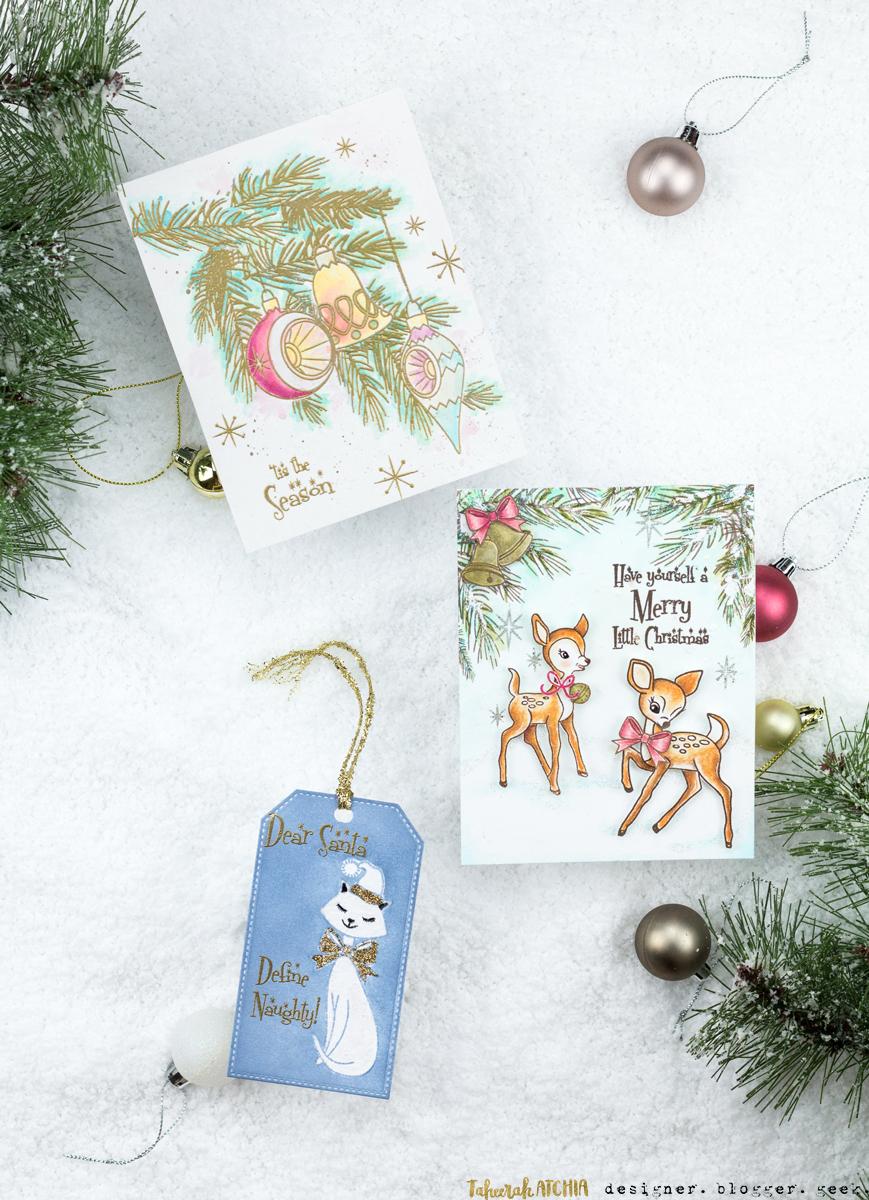 Retro Christmas Cards & Tag Set by Taheerah Atchia
