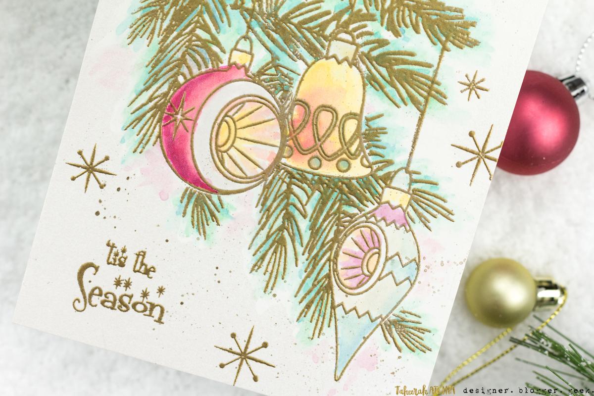 Retro Ornaments Christmas Card by Taheerah Atchia