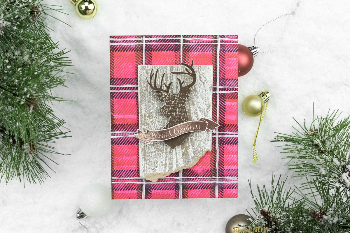 Rustic Plaid Reindeer Christmas Card by Taheerah Atchia