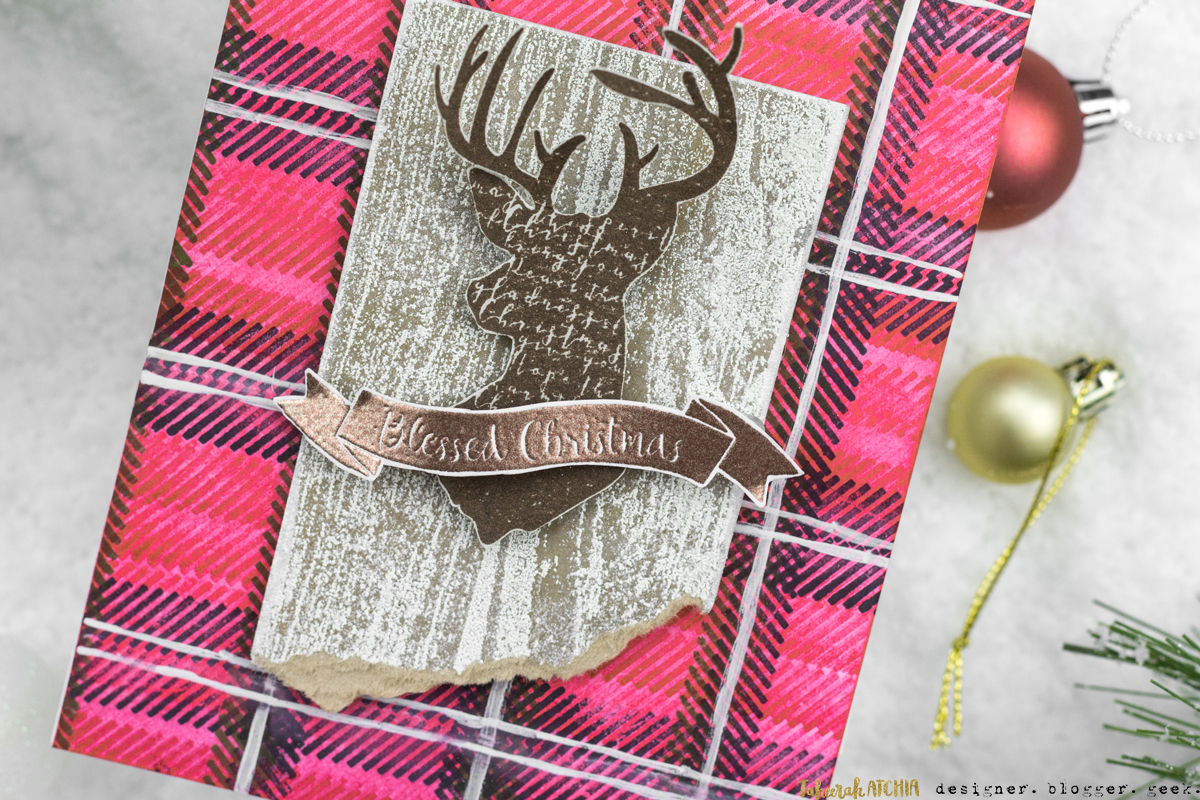 Rustic Plaid Reindeer Christmas Card by Taheerah Atchia