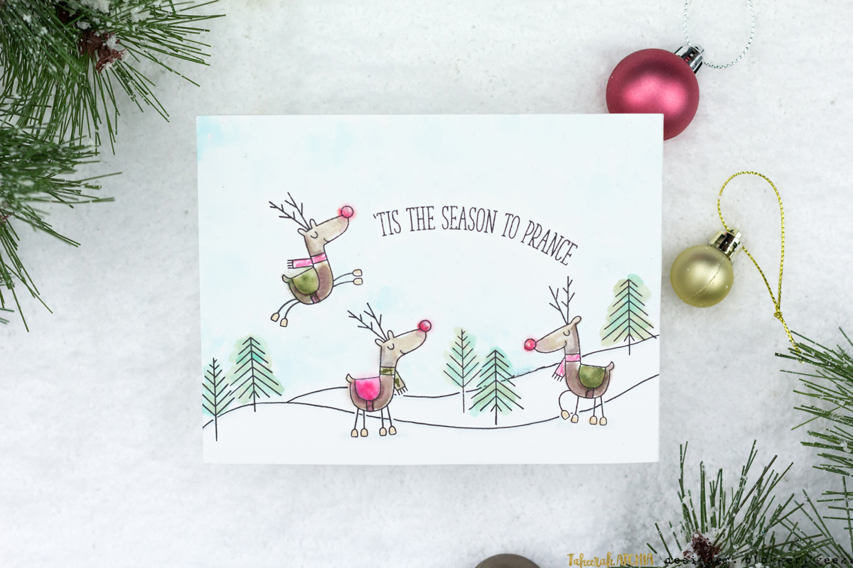 'Tis The Season To Prance Reindeer Christmas Card by Taheerah Atchia