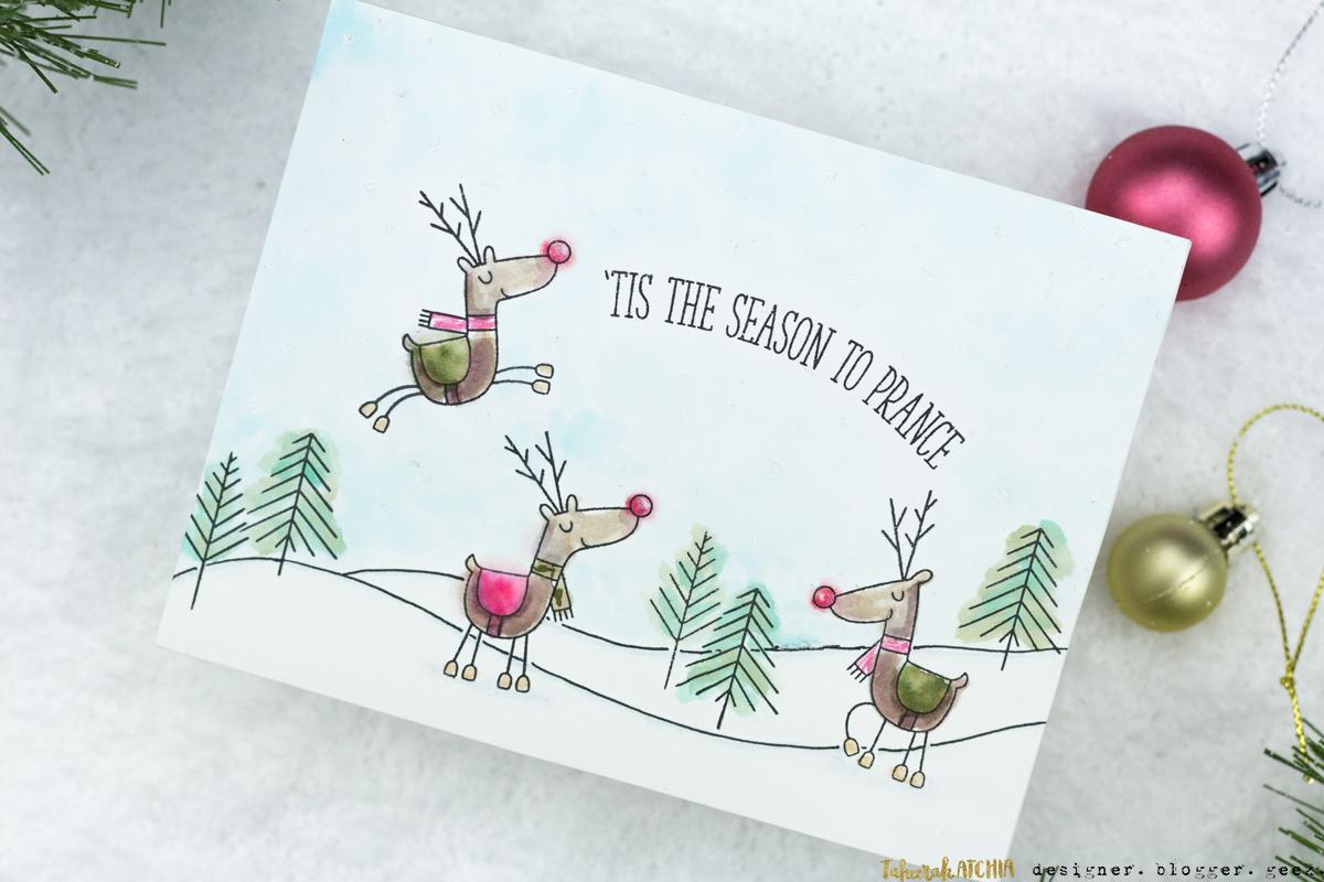 'Tis The Season To Prance Reindeer Christmas Card by Taheerah Atchia