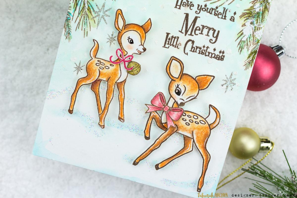 Vintage Style Deer Christmas Card by Taheerah Atchia