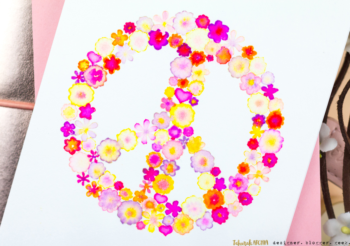 Flower Power Peace Sign Card by Taheerah Atchia