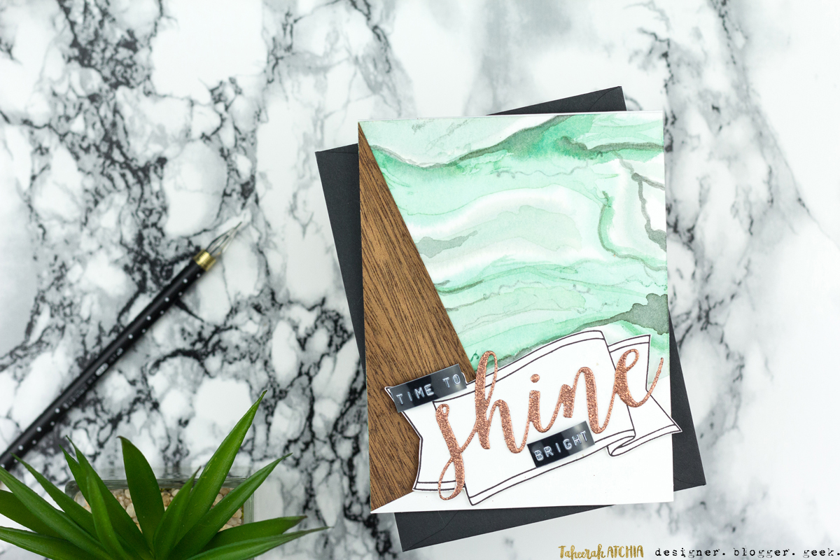 Time To Shine Bright Green Marbled Card by Taheerah Atchia