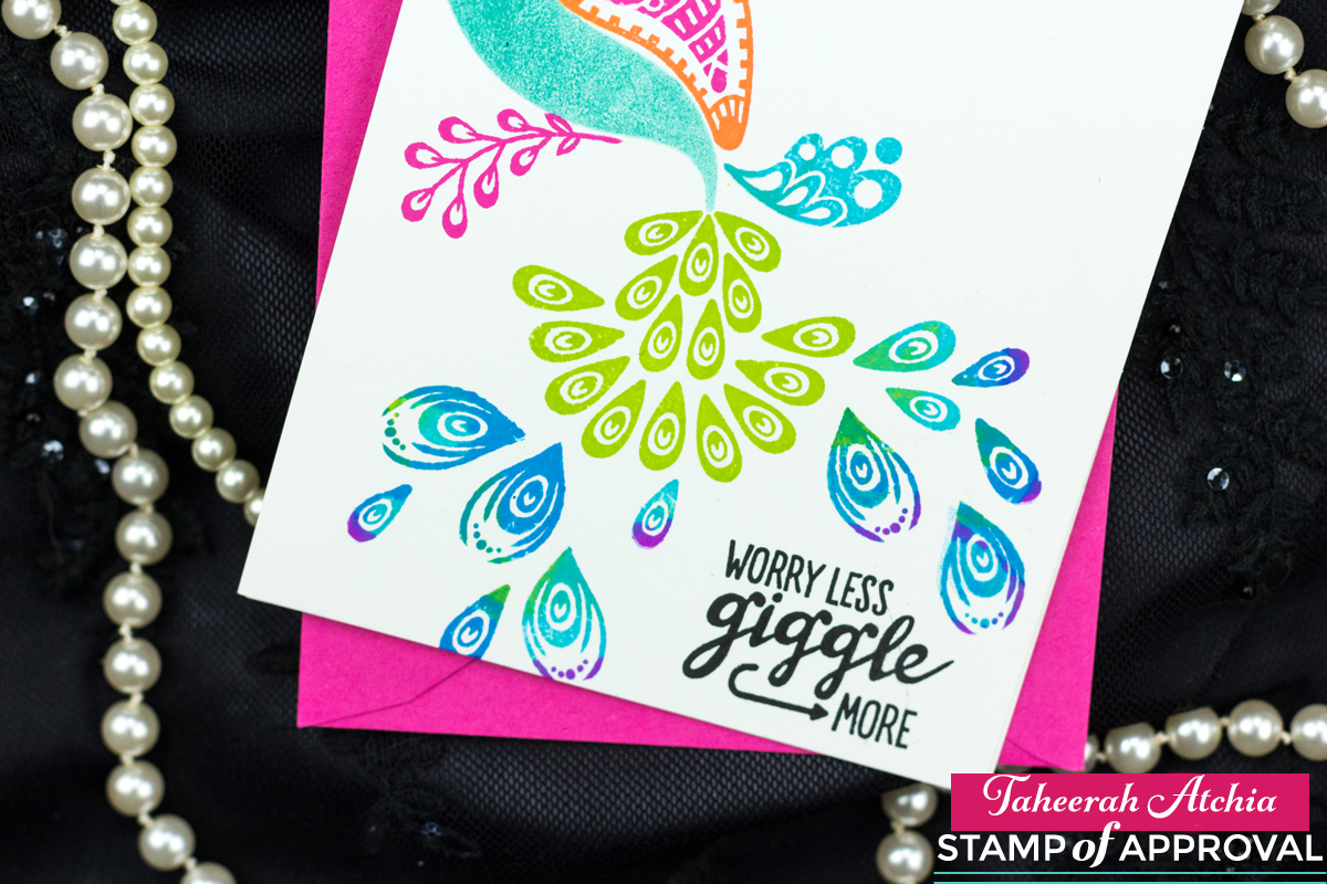 Giggle More Rainbow Peacock Card by Taheerah Atchia