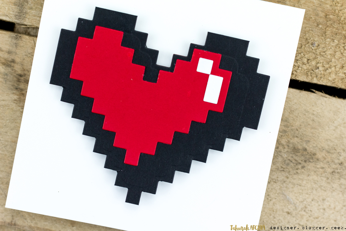 Quick & Easy Valentines Cards for Guys - 8-Bit Heart Card by Taheerah Atchia