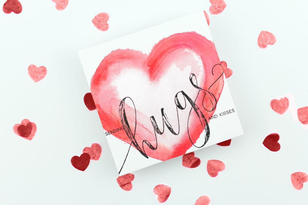 Sending Hugs & Kisses Watercolour Heart Card by Taheerah Atchia