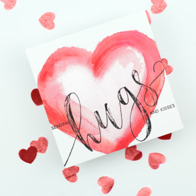Sending Hugs & Kisses Watercolour Heart Card by Taheerah Atchia