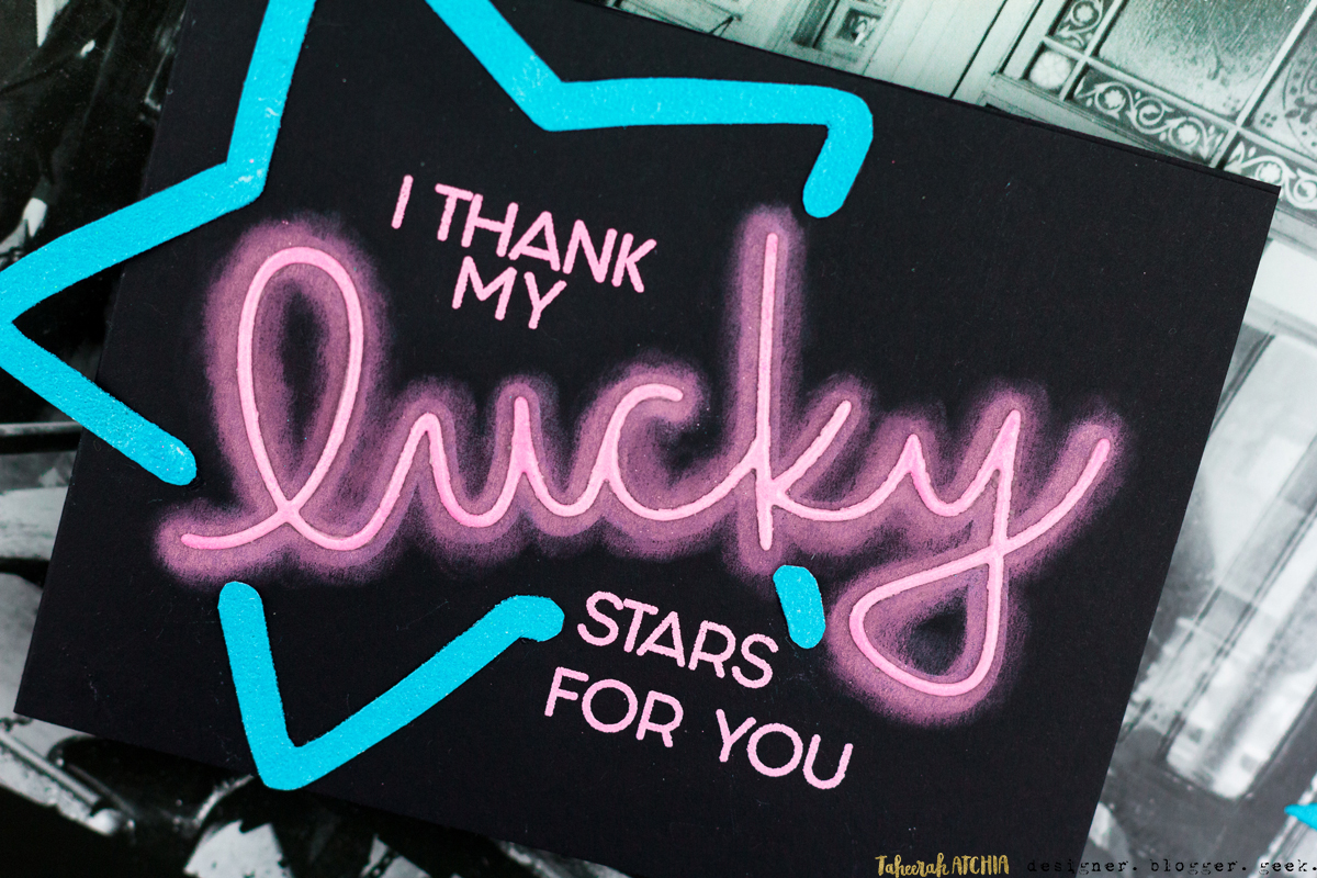 I Thank My Lucky Stars For You Neon Sign Card by Taheerah Atchia