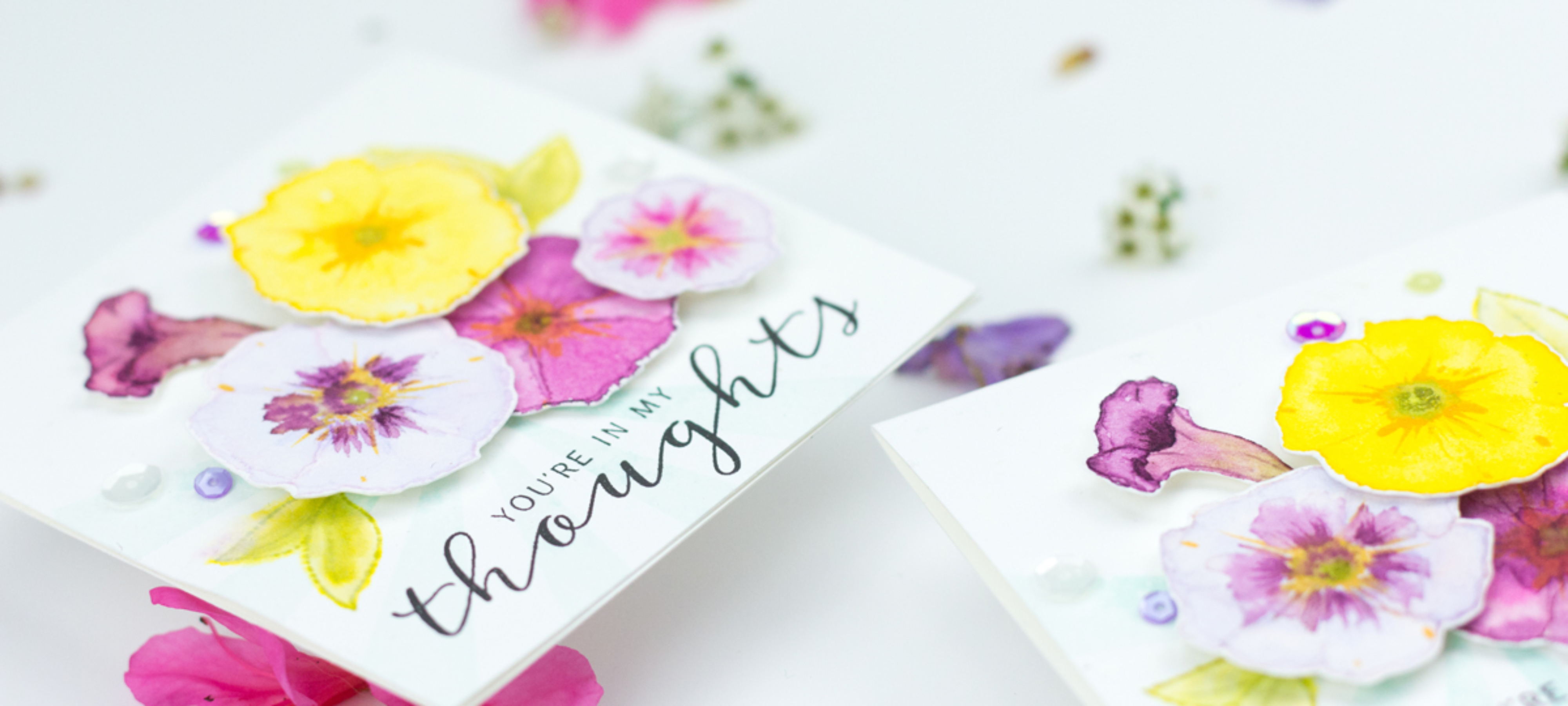 You're In My Thoughts Watercoloured Petunias Card (WPlus9 Guest Designer)