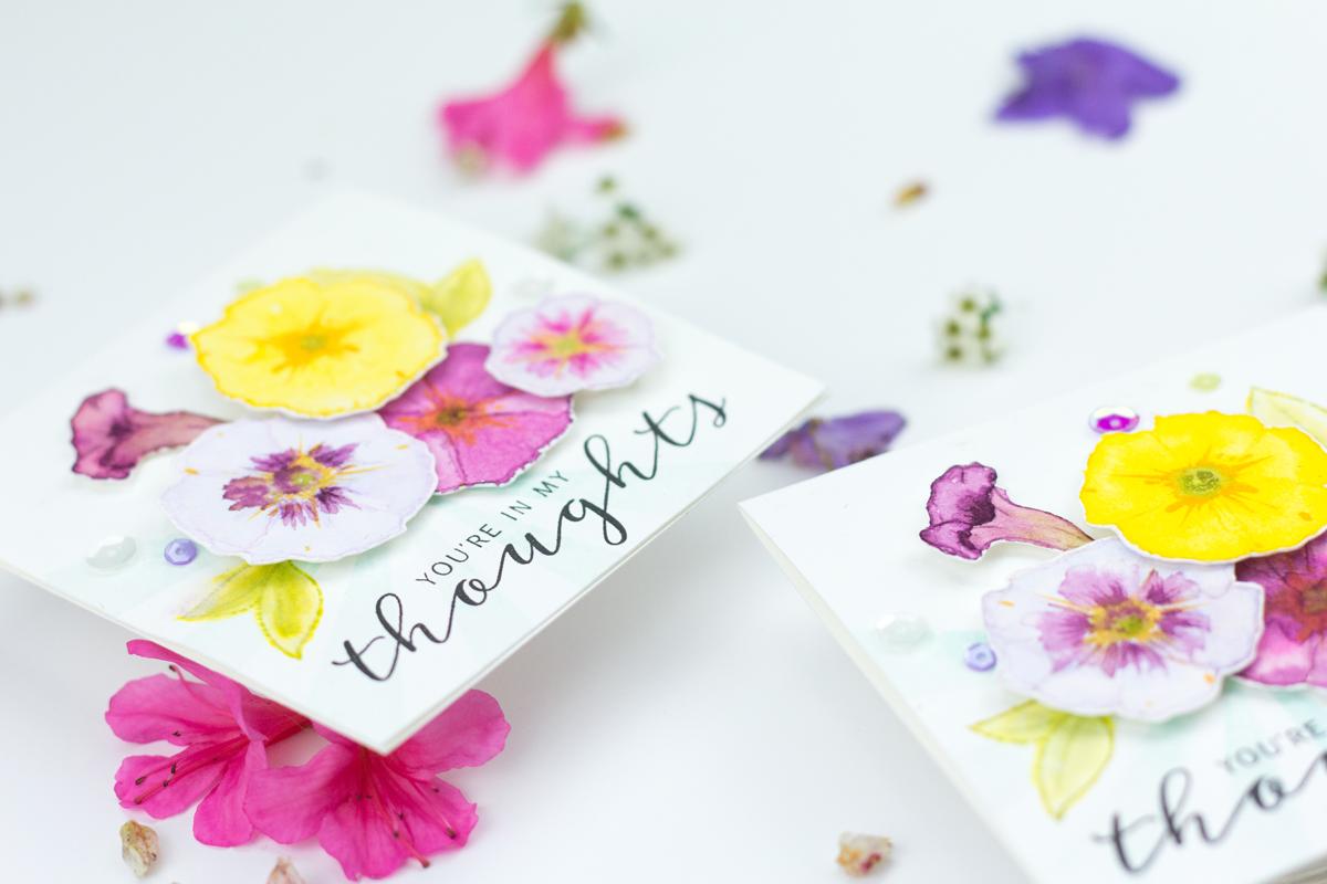 Watercoloured & Stamped Petunias Card Video Tutorial (WPlus9 Guest Designer)