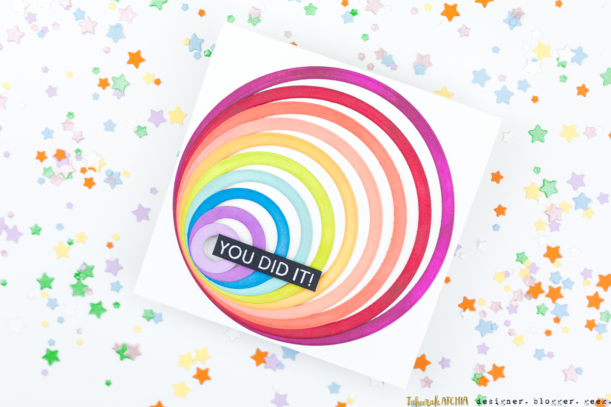 You Did It! Rainbow Circles Card by Taheerah Atchia