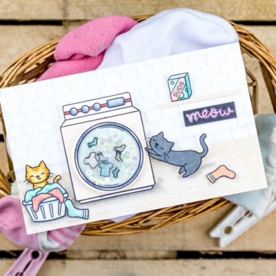 Playful Cats Interactive Washing Machine Card by Taheerah Atchia