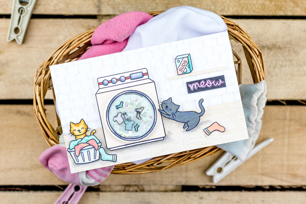 Playful Cats Interactive Washing Machine Card (Lawn Fawn Guest Designer)
