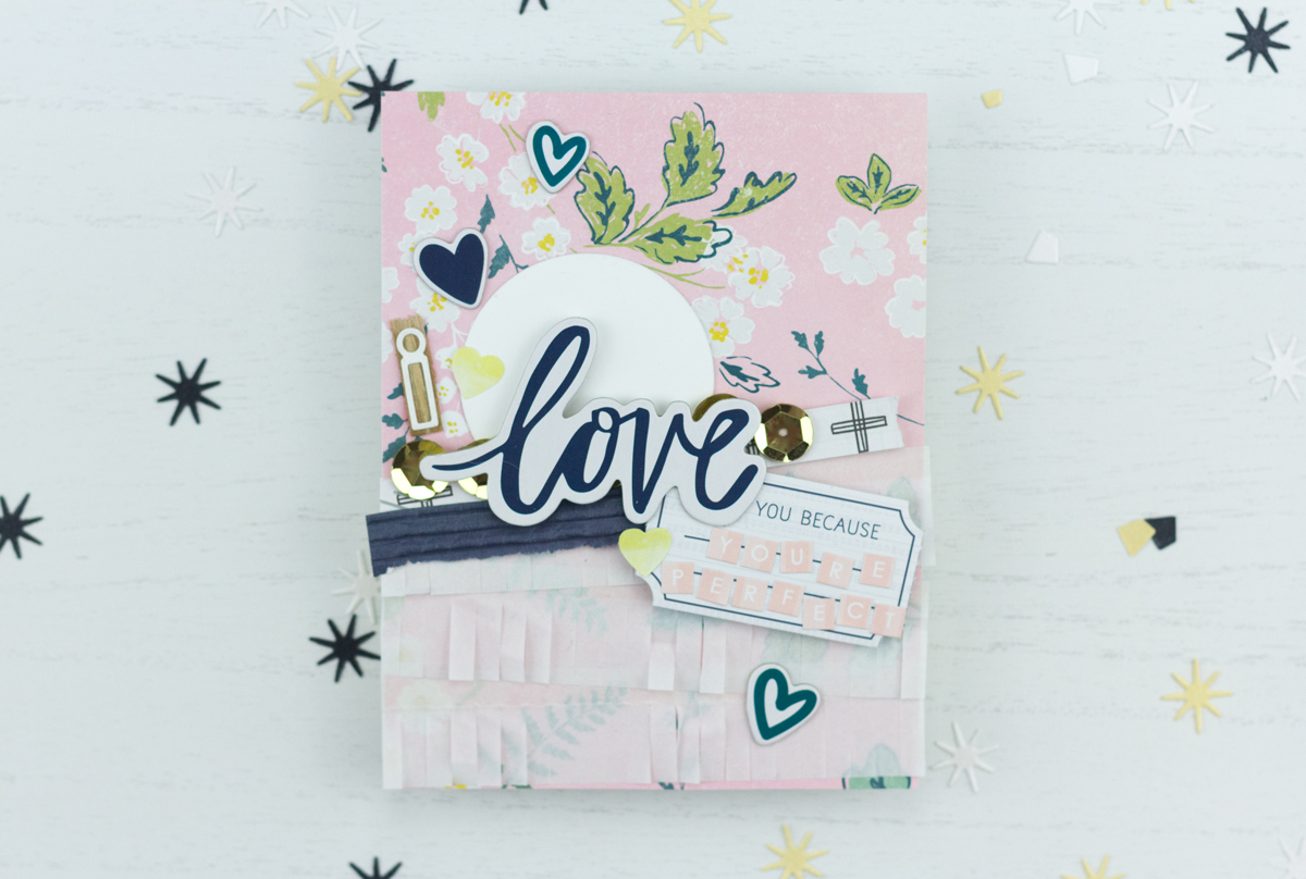 Patterned Paper Layered I Love You Because You're Perfect Card (Scrapbook Circle Guest Designer)