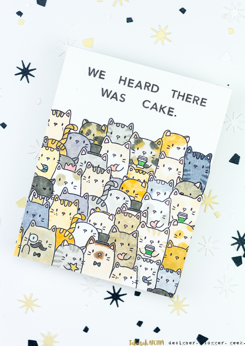 We Heard There Was Cake Kitty Birthday Card by Taheerah Atchia