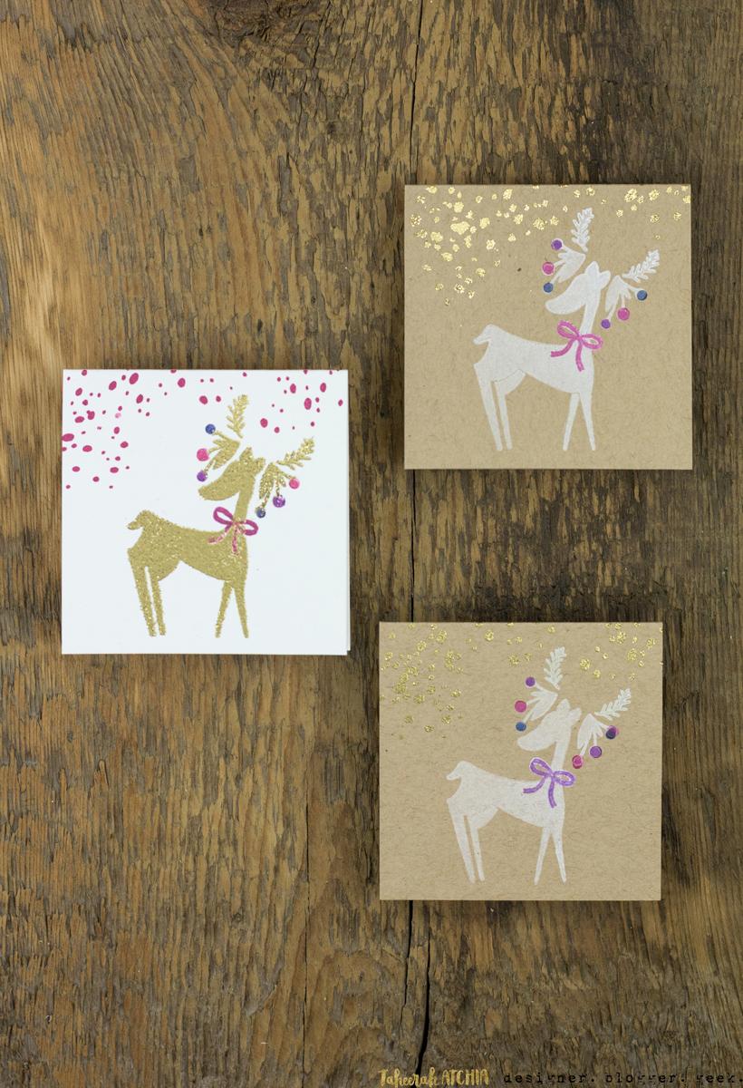 Mini Reindeer Christmas Cards by Taheerah Atchia
