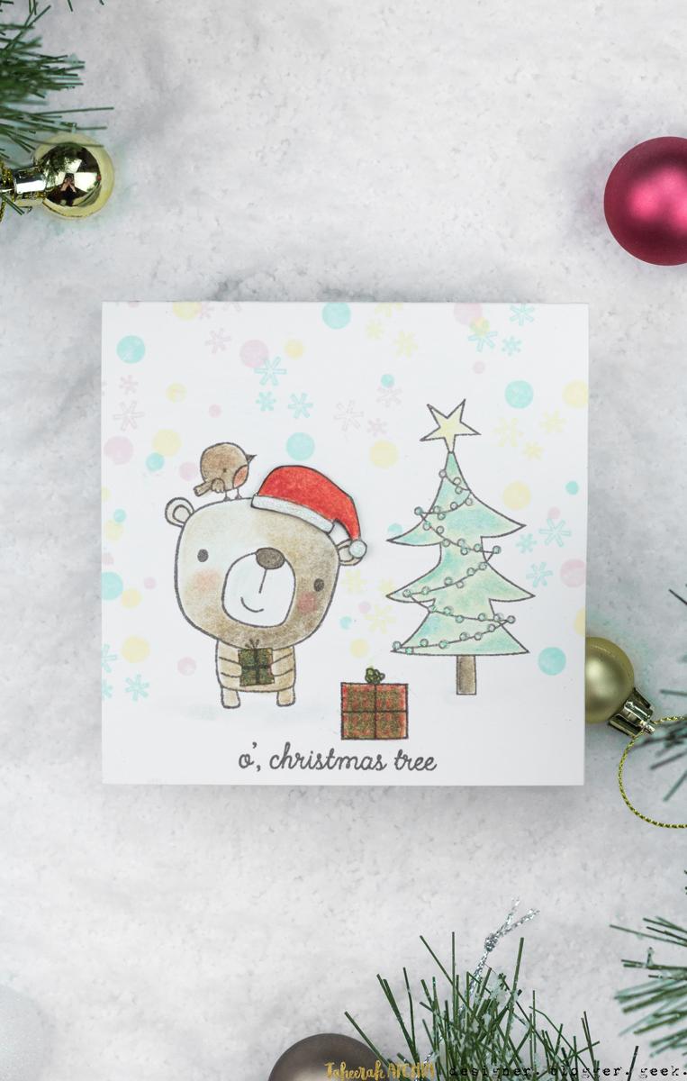 O' Christmas Tree Bear Christmas Card by Taheerah Atchia