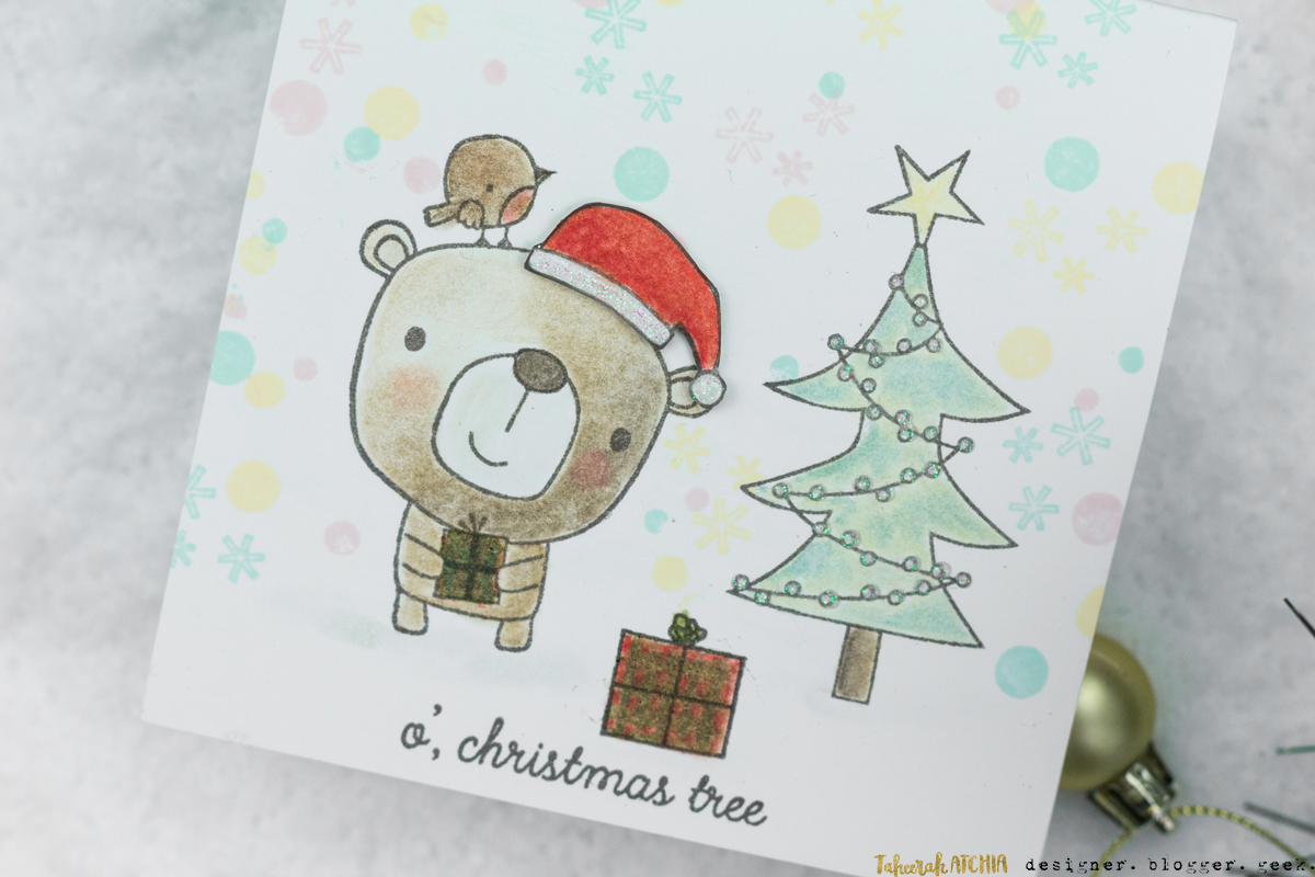 O' Christmas Tree Bear Christmas Card by Taheerah Atchia