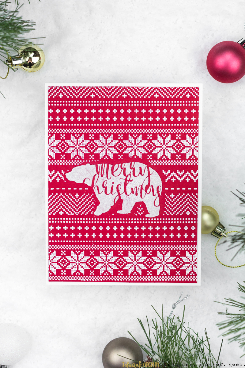 Polar Bear Sweater Christmas Card by Taheerah Atchia