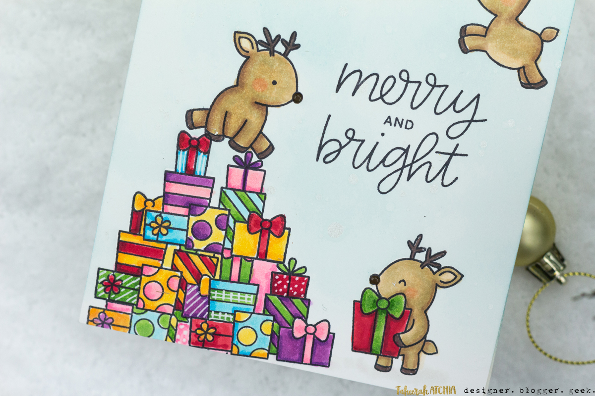 Reindeer Presents Christmas Card by Taheerah Atchia