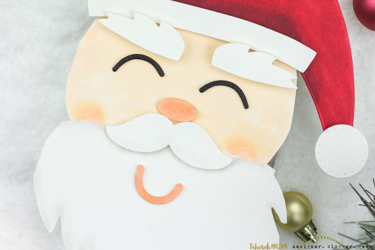 Shaped Santa Face Christmas Card by Taheerah Atchia