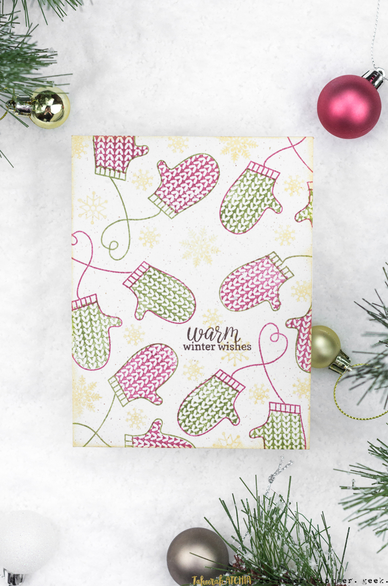 Warm Winter Wishes Mitten Christmas Card by Taheerah Atchia