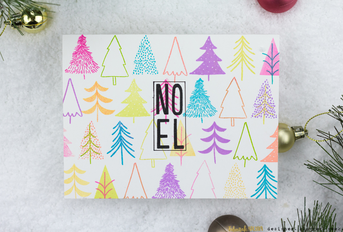 Bright Trees Noel Christmas Card by Taheerah Atchia