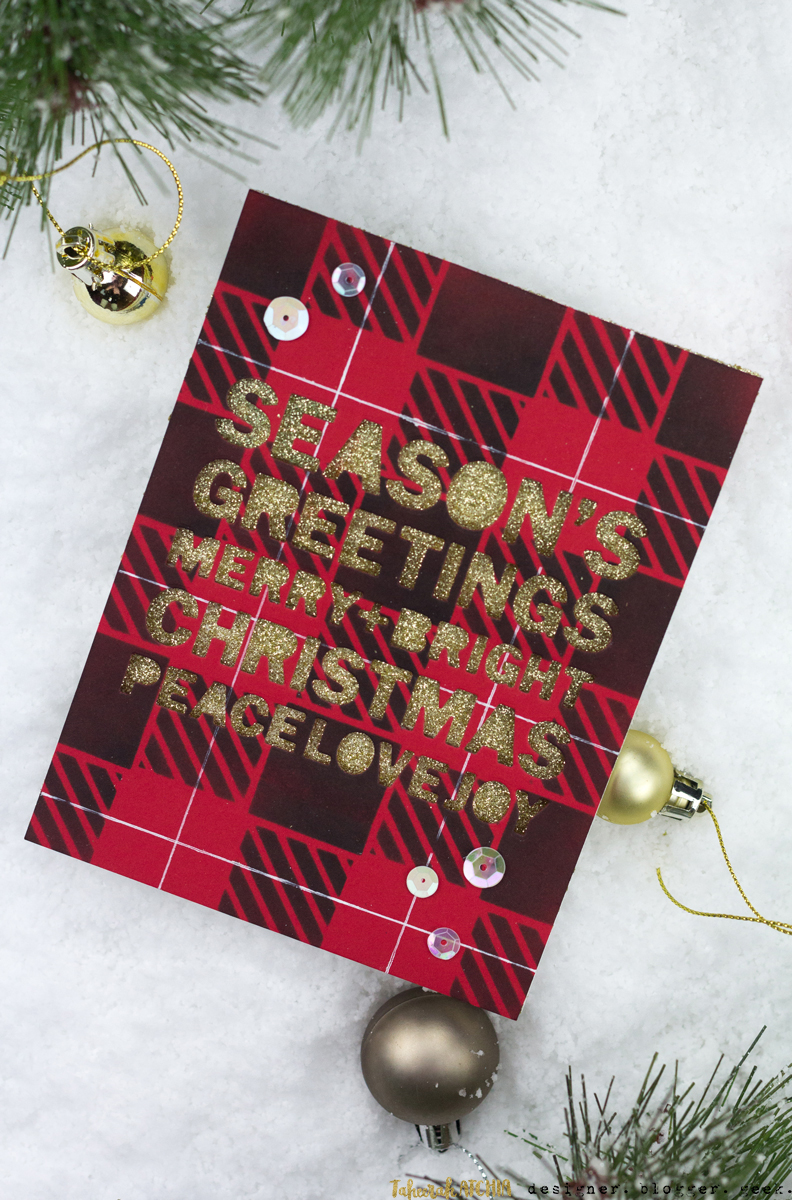 Buffalo Plaid Christmas Card by Taheerah Atchia