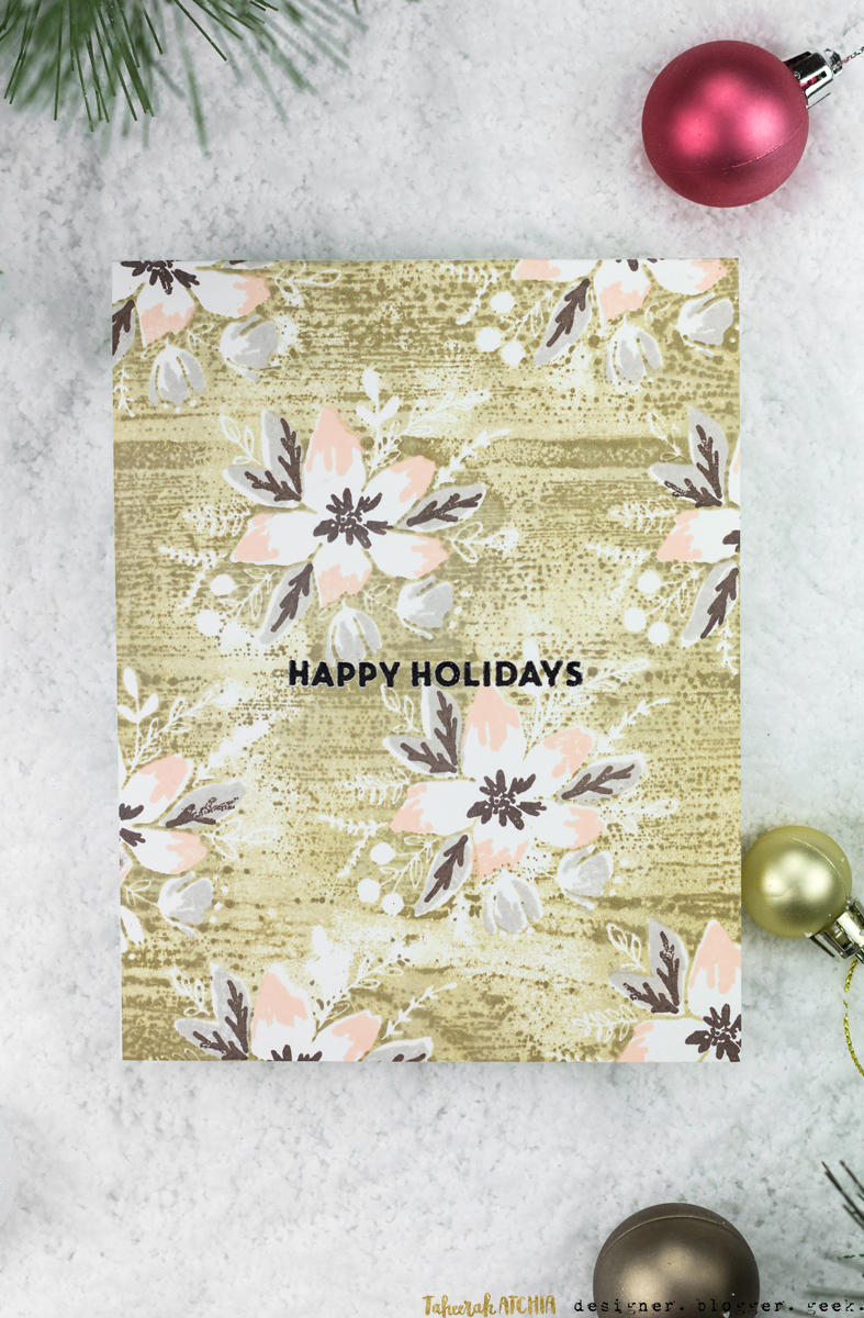 Happy Holidays Poinsettia Christmas Card by Taheerah Atchia