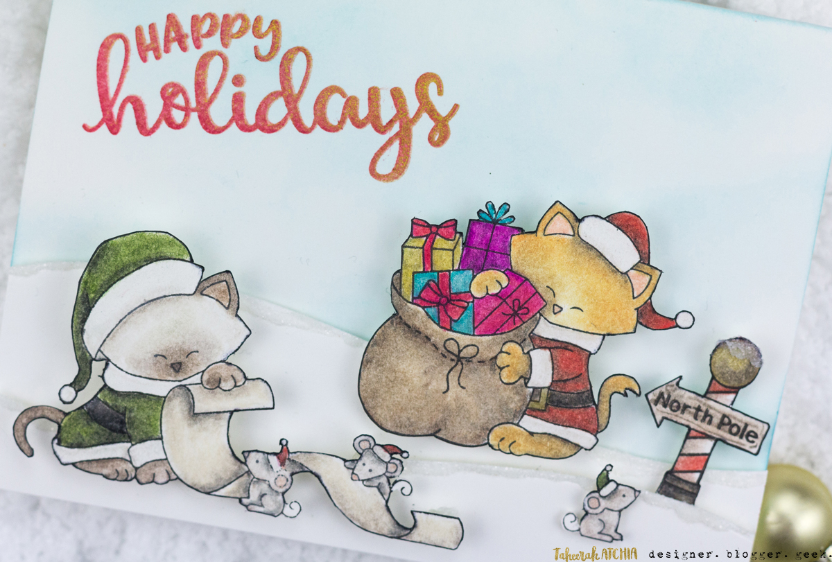 Happy Holidays Santa Cat Christmas Card by Taheerah Atchia