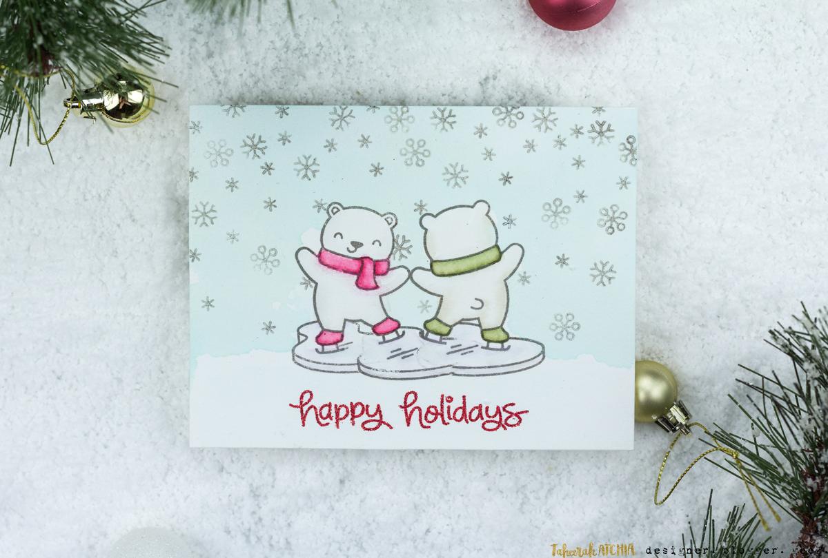 Ice Skating Polar Bears Christmas Card by Taheerah Atchia