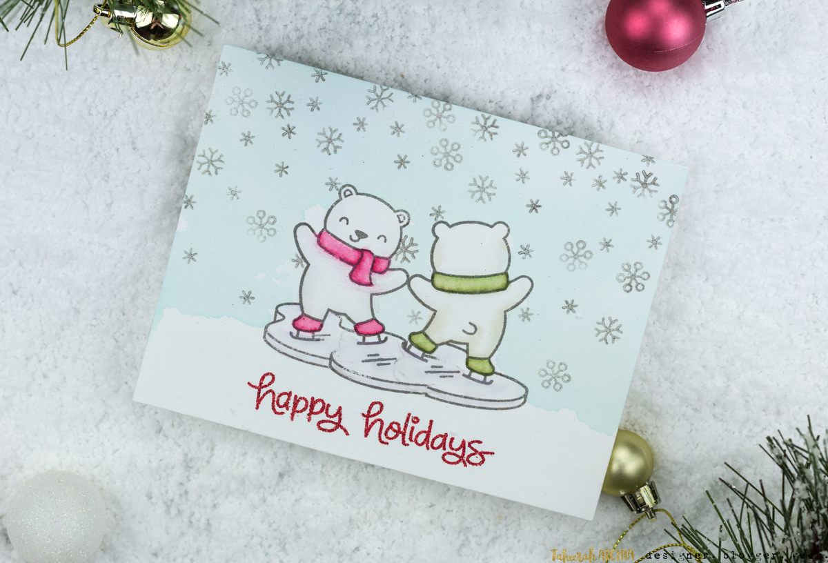 Ice Skating Polar Bears Christmas Card by Taheerah Atchia
