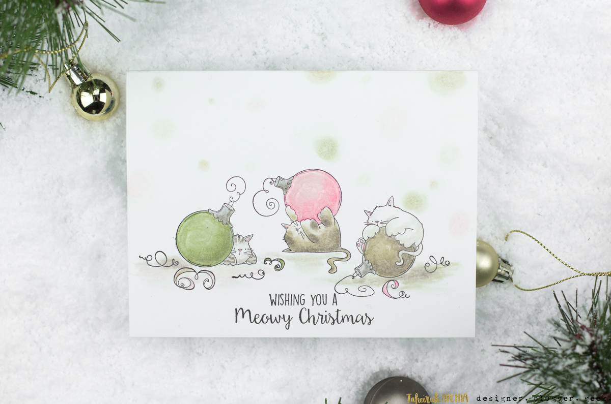 Meowy Christmas Cat Bauble Card by Taheerah Atchia