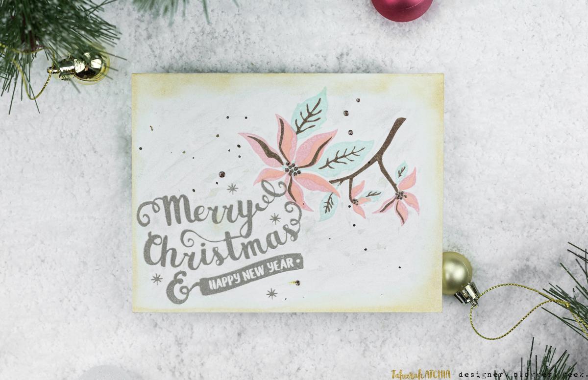 Merry Christmas Poinsettia Card by Taheerah Atchia