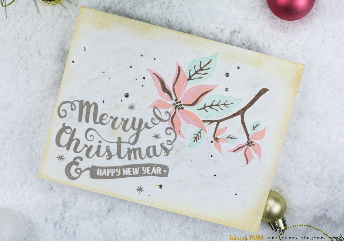 Merry Christmas Poinsettia Card by Taheerah Atchia