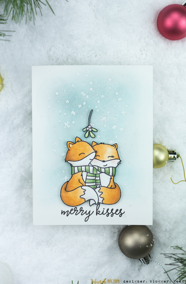 Merry Kisses Cute Foxes Mistletoe Christmas Card by Taheerah Atchia