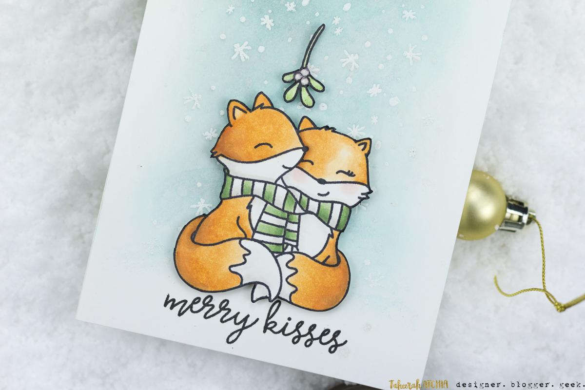 Merry Kisses Cute Foxes Mistletoe Christmas Card by Taheerah Atchia