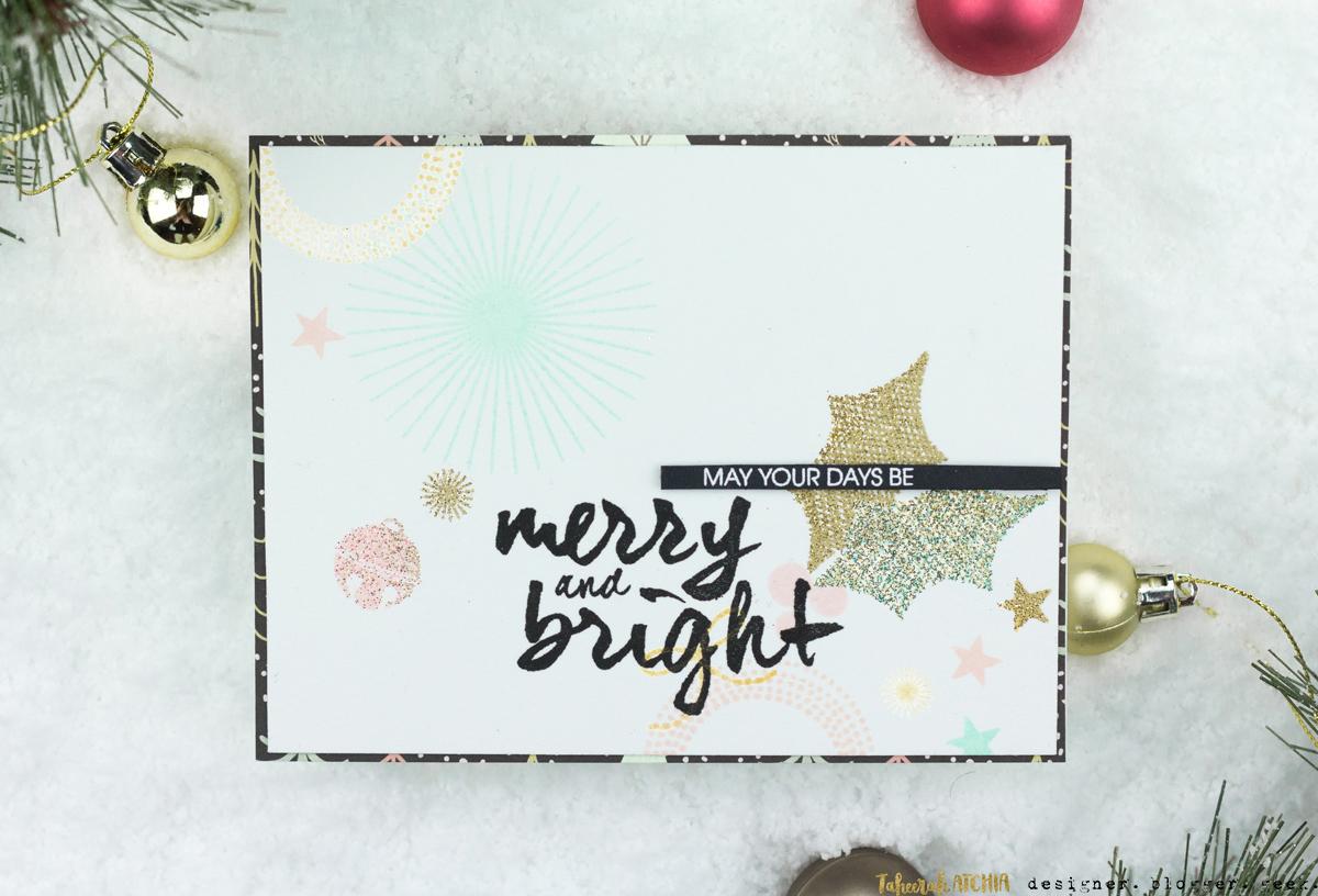 Modern Merry & Bright Christmas Card by Taheerah Atchia
