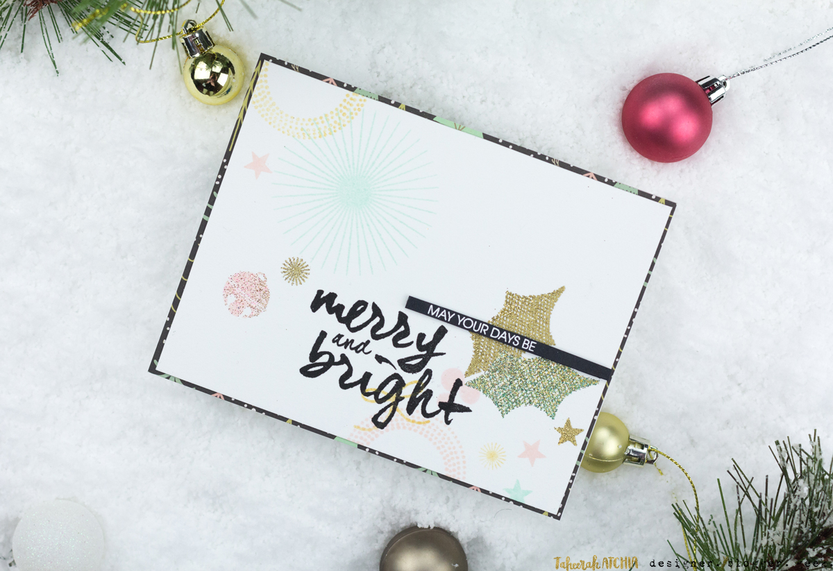 Modern Merry & Bright Christmas Card by Taheerah Atchia