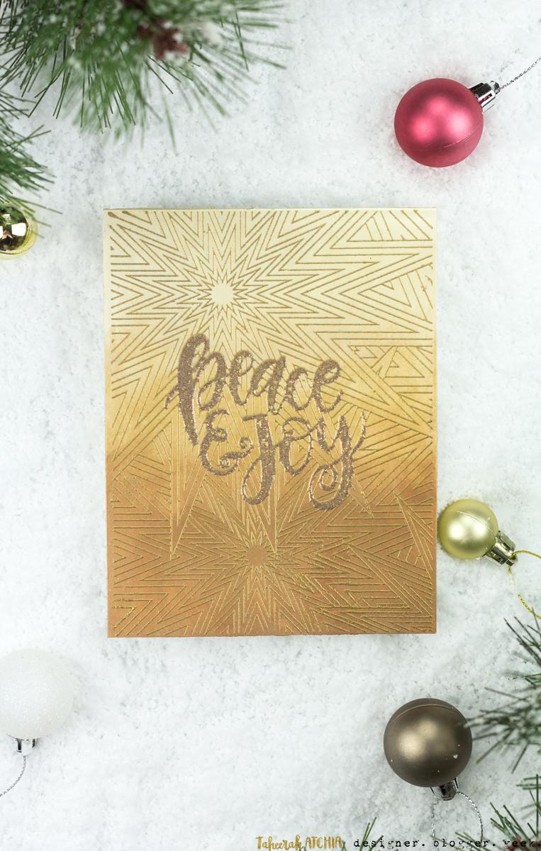 Peace & Joy Gold Shimmer Christmas Card by Taheerah Atchia