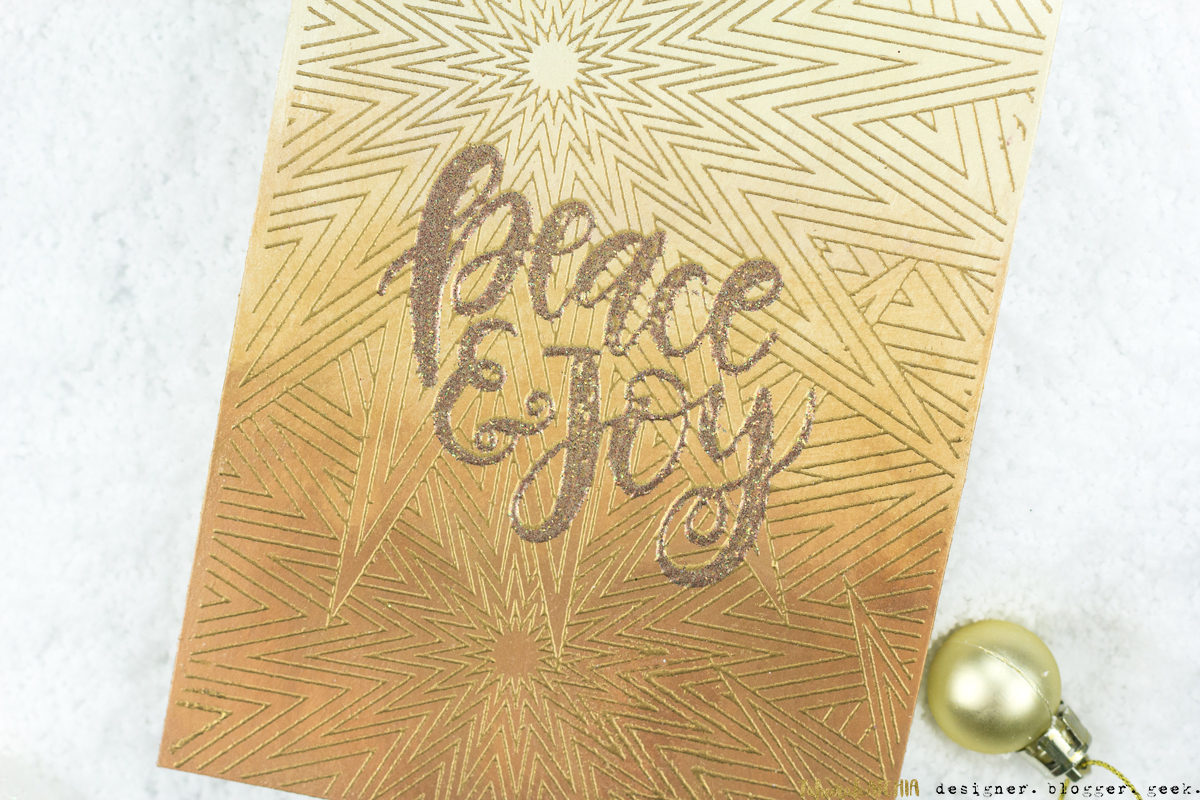Peace & Joy Gold Shimmer Christmas Card by Taheerah Atchia