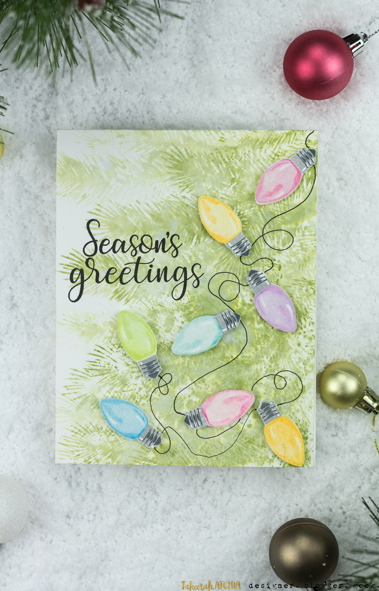 Season's Greetings Christmas Lights Card by Taheerah Atchia