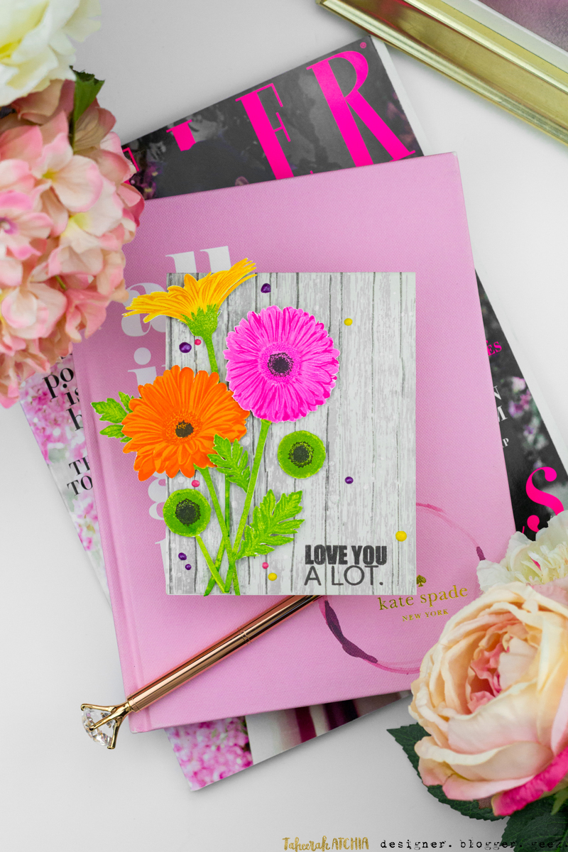 Love You A Lot Gerbera Daisies Card by Taheerah Atchia