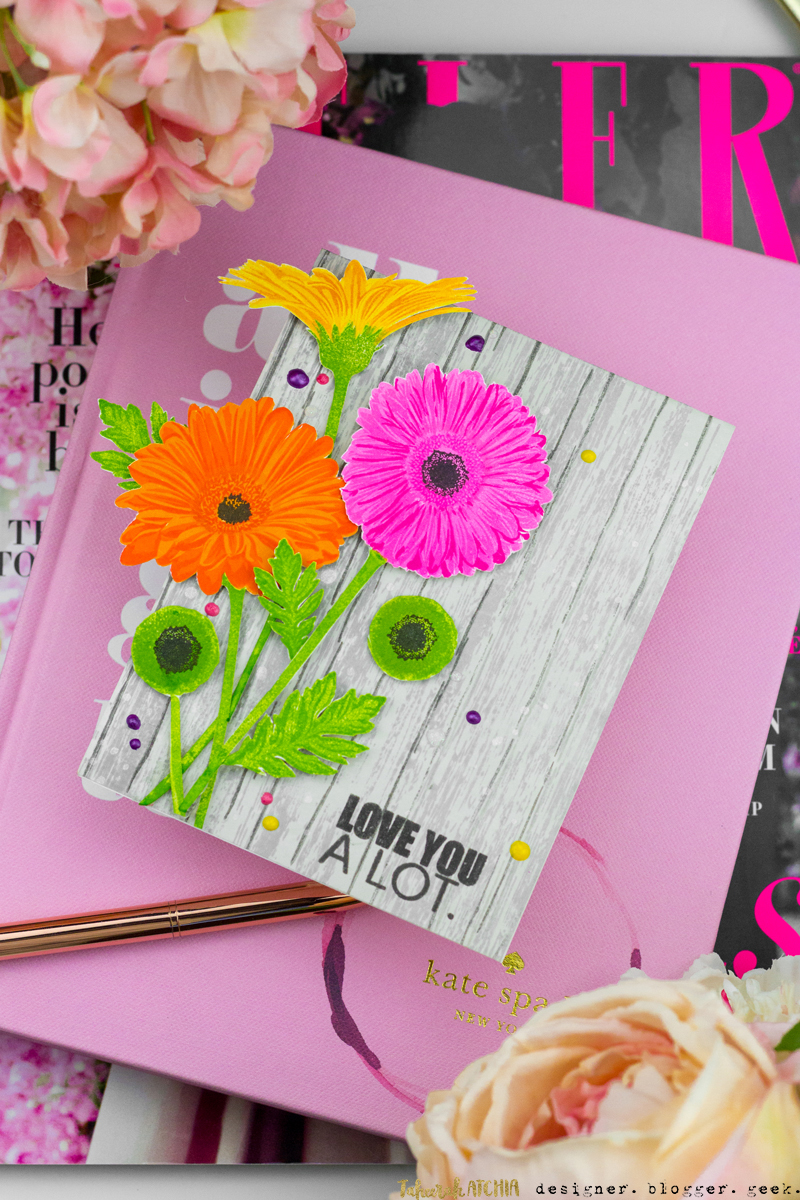 Love You A Lot Gerbera Daisies Card by Taheerah Atchia