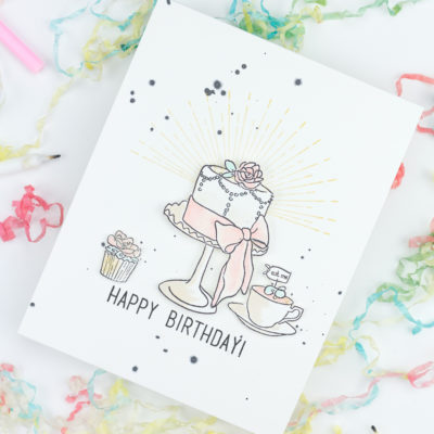 Tea And Cake Happy Birthday Card by Taheerah Atchia